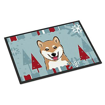 Winter Holiday Shiba Inu Indoor or Outdoor Mat 18x27