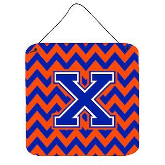 Buchstabe X Chevron Orange und blau Wand oder Tür hängen Drucke