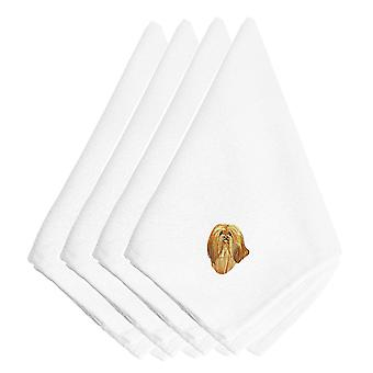 Carolines Treasures  EMBT2641NPKE Lhasa Apso Embroidered Napkins Set of 4