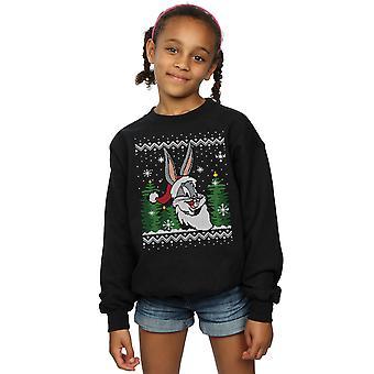 Looney Tunes ragazze Bugs Bunny Christmas Fair Isle Sweatshirt