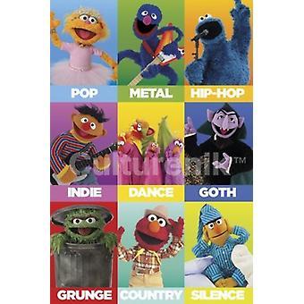 Sesame Street Music tyylilajit juliste Juliste Tulosta