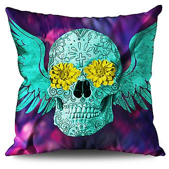 Skull Face Painted Linen Cushion 30cm x 30cm | Wellcoda
