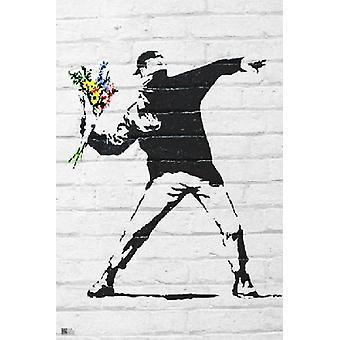 Flor Banksy bombardero cartel Poster Print