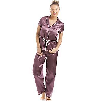 Camille Mocha kort erme belte sateng Pyjama sett