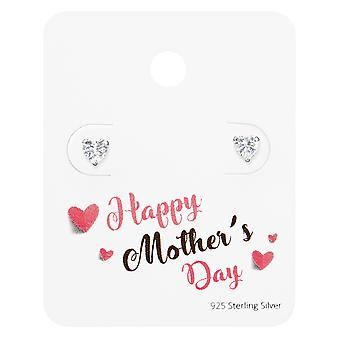 Heart Ear Studs On Happy Mother's Day Card - 925 Sterling Silver Sets - W35875X