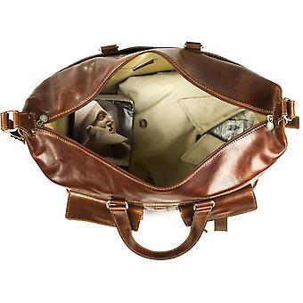 Genuine Italian Leather Travel Bag Hand Luggage Holdall Weekend Overnight Brown Unisex