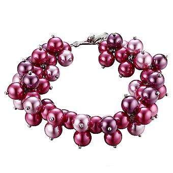 Multi Pink Pearl strap and Fushia and Plated Rhodium 2264