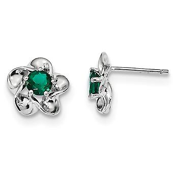 Lab Created Emerald Flower Post 7/10 Carat (ctw) Earrings in Sterling Silver