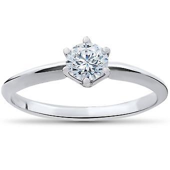 3/8ct Round Diamond Solitaire Engagement Ring 10K White Gold