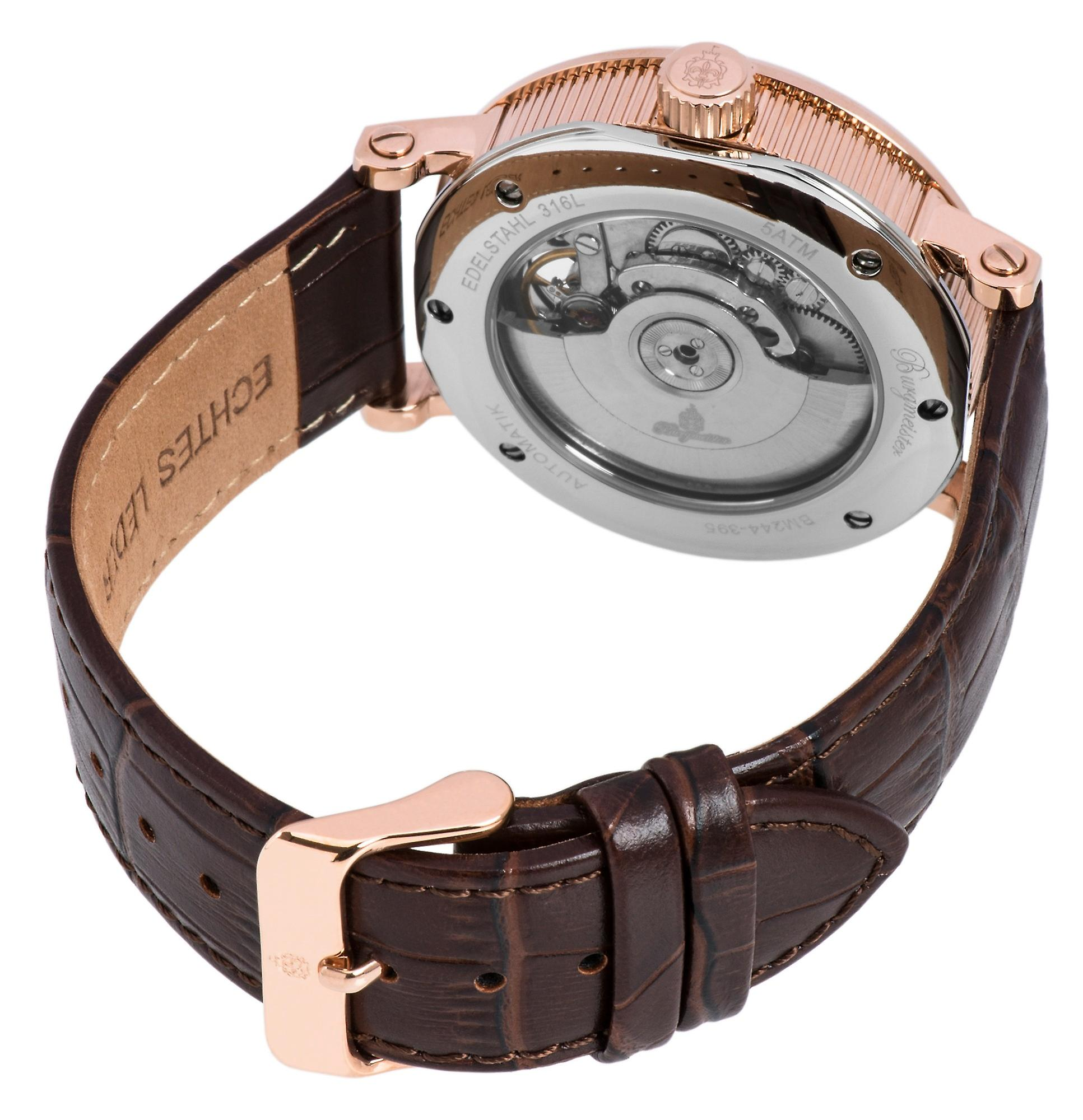 Burgmeister BM244-395 Thalwil, Gents automatic watch, Analogue display - Water resistant, Stylish leather strap, Classic men's watch