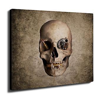 Gun Metal Death Skull Wall Art Canvas 40cm x 30cm | Wellcoda