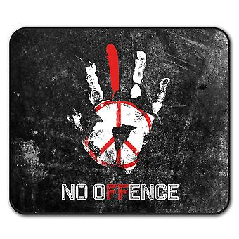No Offence Peace Slogan  Non-Slip Mouse Mat Pad 24cm x 20cm | Wellcoda
