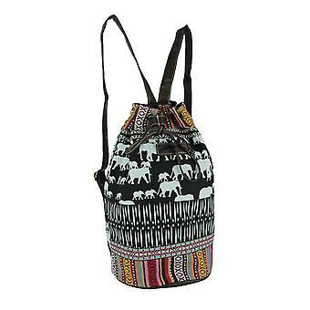 Tribal Stripe Boho Elephants Bucket Backpack