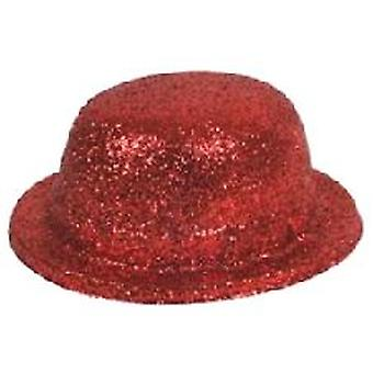 Glitter Bowler Hat Red