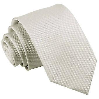 Ivory Solid Check Slim Tie