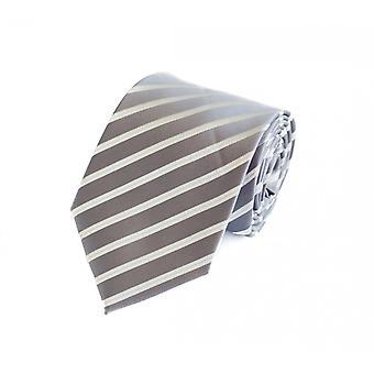 Schlips Krawatte Krawatten Binder 8cm silber grau weiß gestreift Fabio Farini
