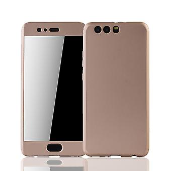 Huawei P10 plus mobiele bescherming-case volledige gevaldekking van het tank bescherming glas goud