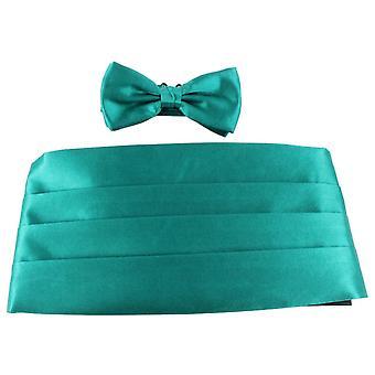 Knightsbridge Neckwear Bow Tie and Cummerbund Set - Teal