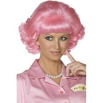 Short Pink Wavy Wig, Frenchy Wig, 1950's Fancy Dress Accessory