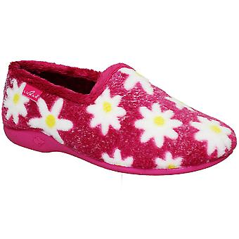 Ladies Slip On Low Wedge Heel Fluffy Warm Daisy Floral Print Comfortable Slippers