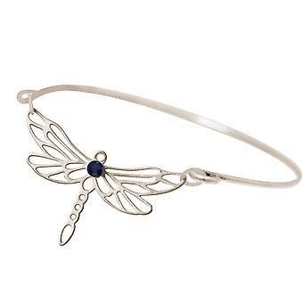 Gemshine pulseira libélula com azul Iolite gemstone 925 prata ou dourada