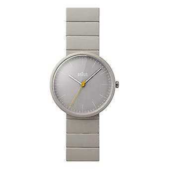 Braun analog quartz wrist watch Mens watch with leather Grey BN0171GYGYG Ceramics