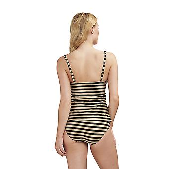 Féraud 3195026-16355 Women's Voyage Golden Ringlet Striped Swimwear Beachwear Tankini Set