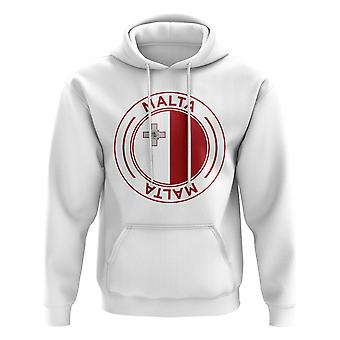 Malta Football Badge Hoodie (bianco)