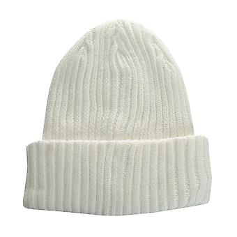 Boys Ripstop Rip Bean Beanie Hat In White- Fold Up Brim- Ribbed Construction-
