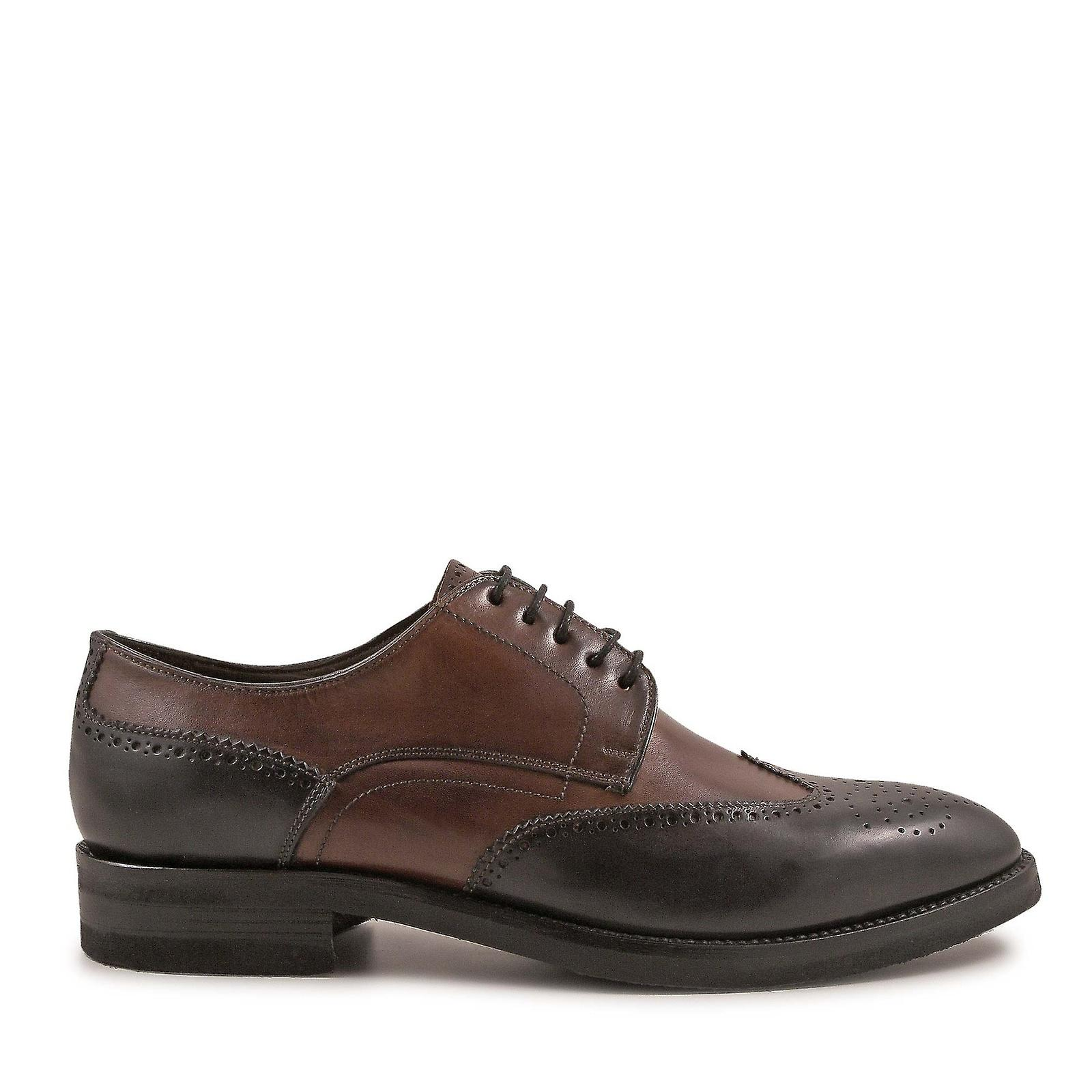 Leonardo Shoes Sngbrownblackleat2 Men's Brown/black Leather Lace-up Shoes OeSRMD