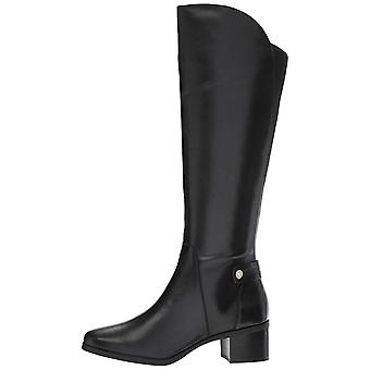 أن كلاين النسائي جيلا الجلود مغلقة إصبع القدم الركبة عالية ركوب الخيل أحذية
