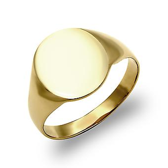 Jewelco London mäns solid 9ct gult guld oval signetring