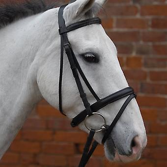 "Hy Padded Flash Bridle W/Rubber Grip Reins 5/8"" Black - Cob"