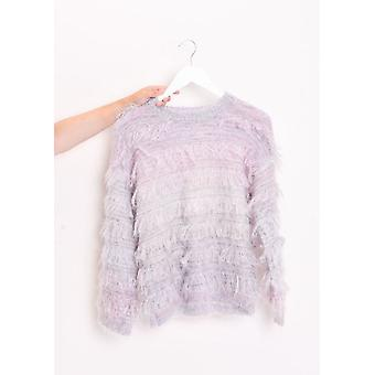 Fringed Mohair Fluffy Crew Collo Jumper Multi