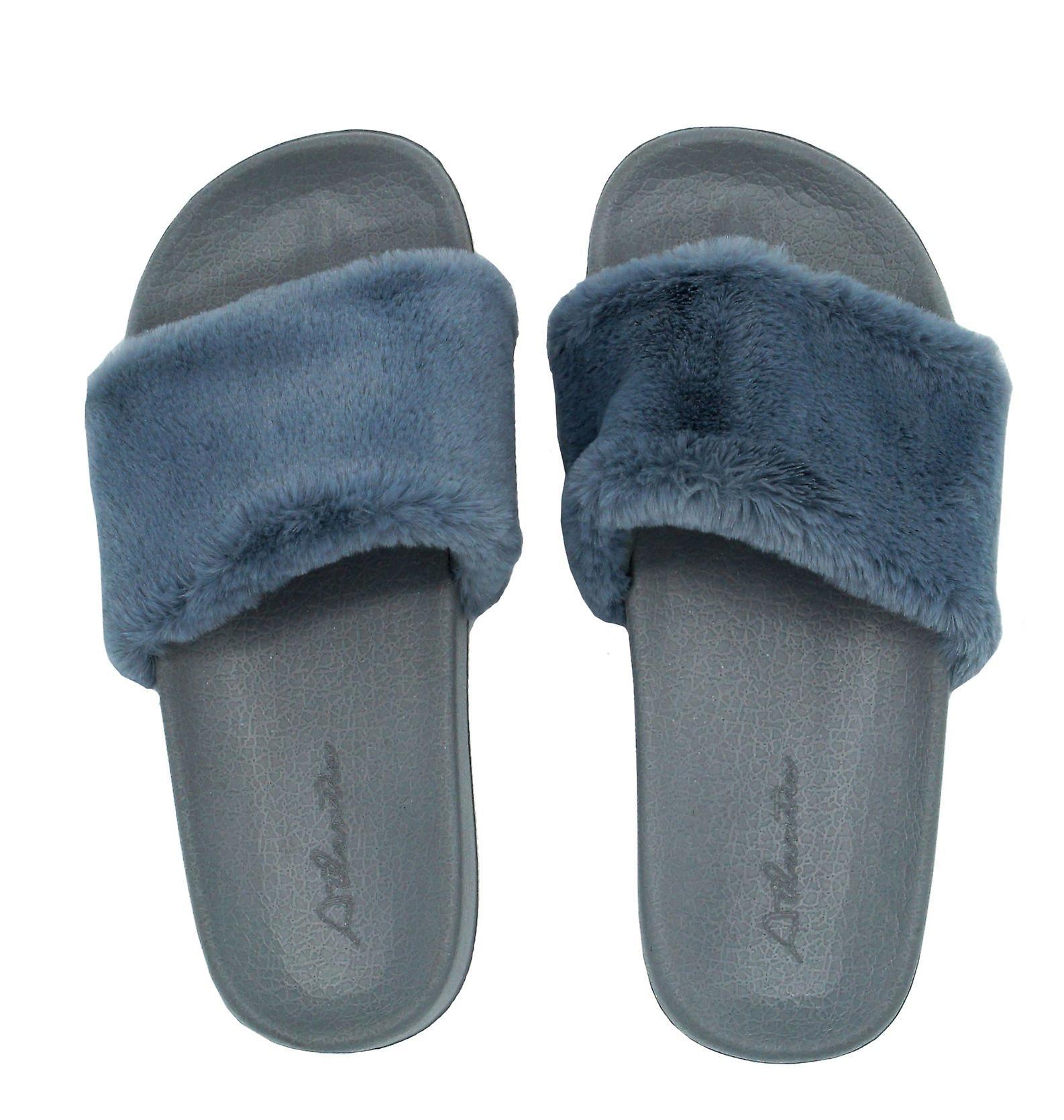 Fluffy grey slides