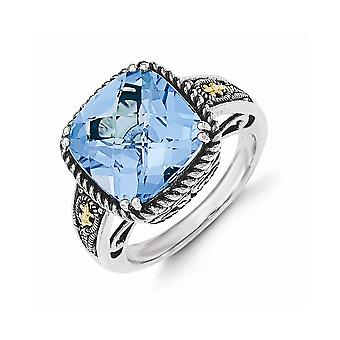 925 Sterling Silver With 14k Lt Swiss Blue Topaz Ring Jewelry Gifts for Women - Ring Size: 6 to 8