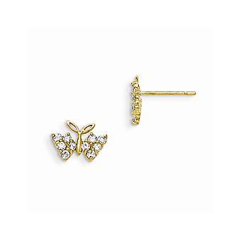 14k Sárga Arany Polírozott Madi K CZ Köbös Cirkónium Szimulált Gyémánt fiúknak vagy lányoknak Butterfly Angel Wings Fülbevaló