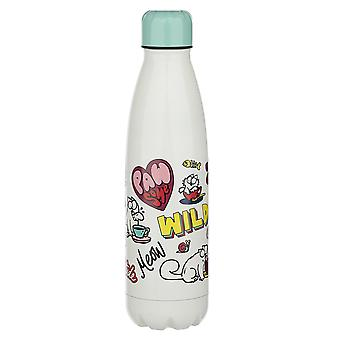 Simon's Cat insulating bottle Pawsome turquoise/white, printed, 100% stainless steel, capacity approx. 500 ml.