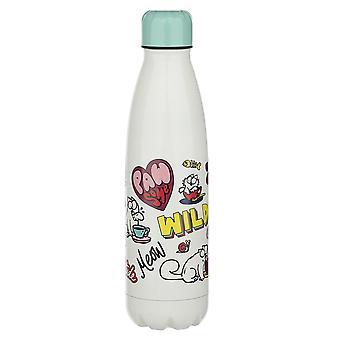 Simon-apos;s Cat bouteille isolante Pawsome turquoise/blanc, imprimé, 100% acier inoxydable, capacité d'environ 500 ml.
