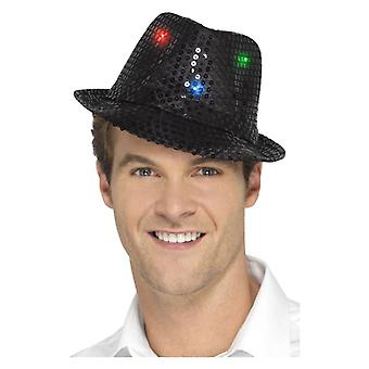 Luce nera adulti Sequin Trilby cappello costume accessorio