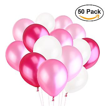 50x Pearl Latex Balloons for Parties and Decorations Toy for Kids 50 Pieces | Colours: Light Pink Pink Plum