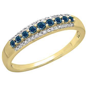 Dazzlingrock Collection 0,40 Carat (ctw) 10K blå & hvit diamant Ladies Anniversary band Stabelbar ring, gult gull