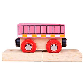 Bigjigs Rail Wooden Pink Wagon - Train Carriage Locomotive Track