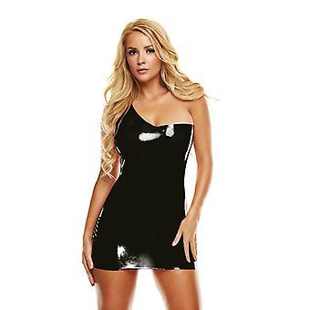 Prémio látex Off-ombro Mini vestido-preto