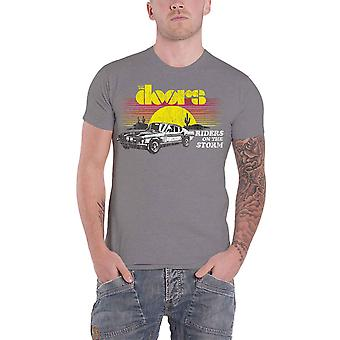 The Doors T Shirt Riders On The Storm Band Logo new Official Mens Grey