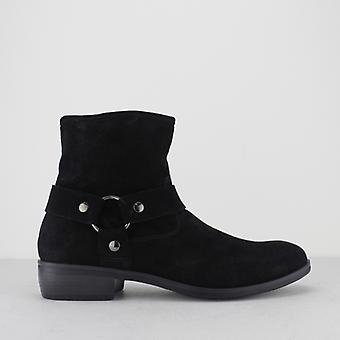 Machete Calico Mens Suede Leather Harness Zip Ankle Boots Black
