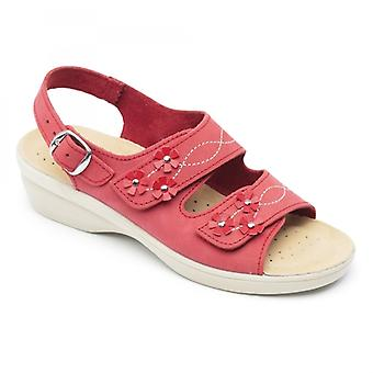 Padders Bluebell Ladies Pelle Wide (e Fit) Sandali Rosso