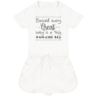 Behind Every Great Baby Is A Truly Amazing Bro Baby Playsuit