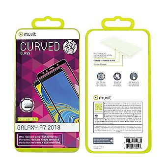 Film Galaxy A7 (2018) Screen Protection Tempered Glass Curved Black Contour - Muvit