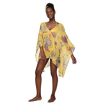 Desigual Women-apos;s Wunand Shell Print Chiffon Beach Kaftan Robe